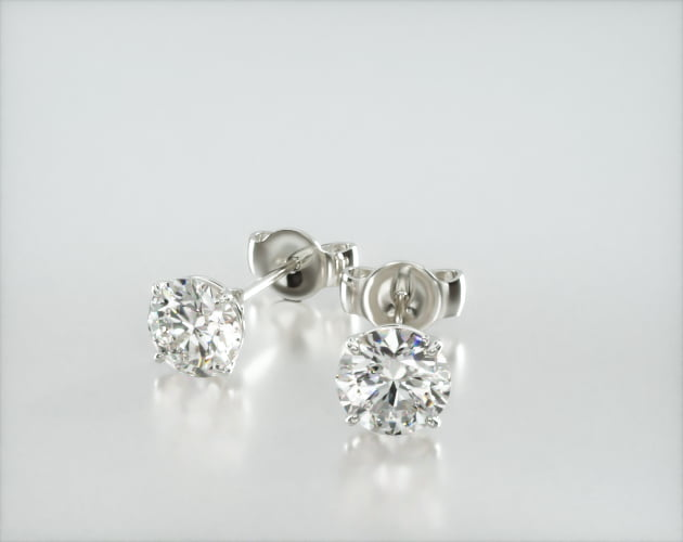 14K White Gold Four Prong Round Brilliant Diamond Stud Earrings (0.75 CTW - H-I SI1-SI2) James Allen