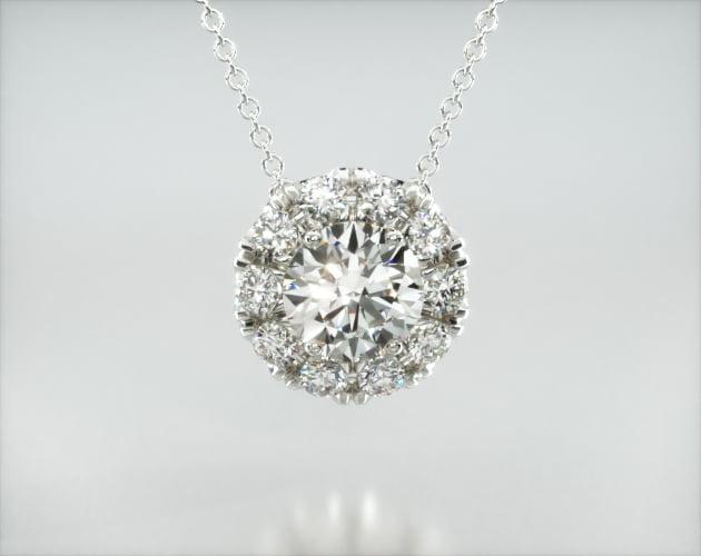 14K White Gold Halo Lab Created Diamond Pendant (1.00 CTW - F-G  VS2-SI1) James Allen