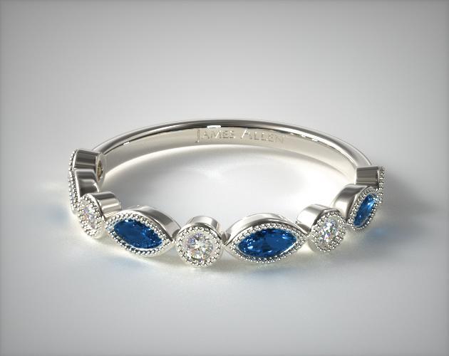 14K White Gold Round Brilliant Diamond And Marquise Sapphire Wedding Ring James Allen