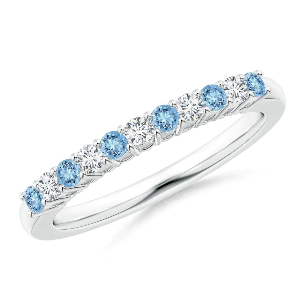 Aquamarine and Diamond Half Eternity Wedding Band