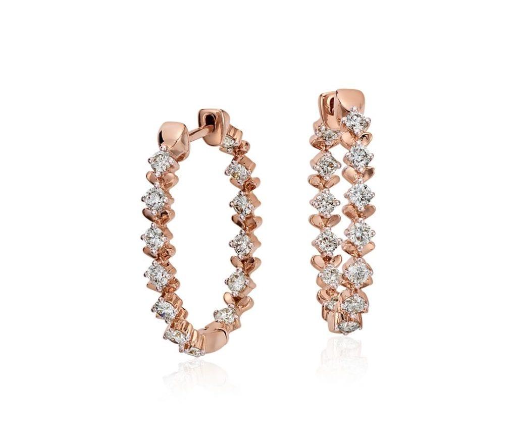 Blue Nile Studio Rose Petal Large Diamond Hoop in 18k Rose Gold (1 ct. tw.)
