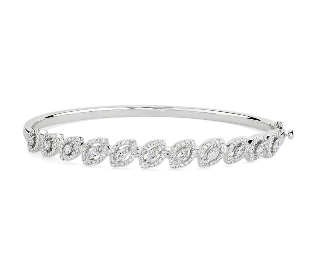Diamond Marquise Halo Bangle in 18k White Gold (1 3/8 ct. tw.) Blue Nile