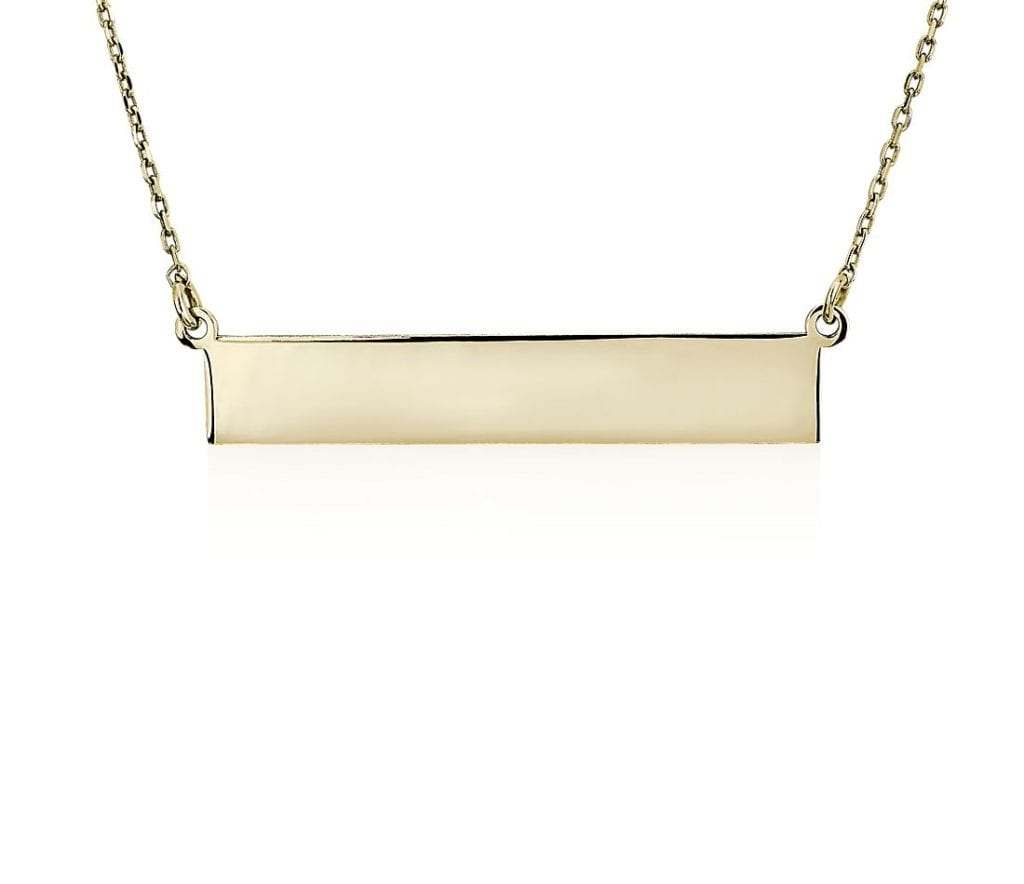 Engravable Bar Necklace in 14k Yellow Gold Blue Nile