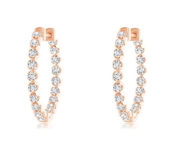 Floating Diamond Inside-Out Hoop Earrings Angara