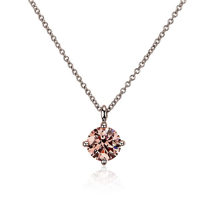 LIGHTBOX Lab-Grown Pink Diamond Round Solitaire Pendant Necklace in 14k Rose Gold (1 ct. tw.) Blue Nile