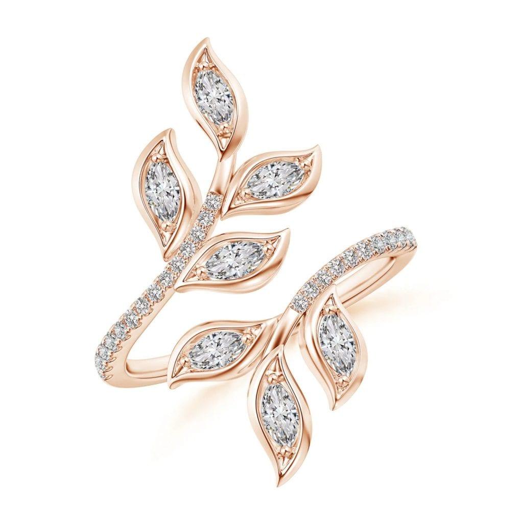 Marquise Diamond Olive Leaf Ring Angara