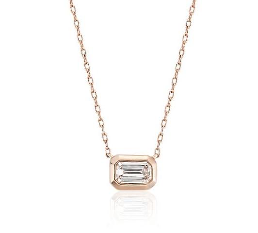 Mini Bezel-Set Emerald-Cut Diamond Pendant in 14k Rose Gold (1/5 ct. tw.) Blue Nile