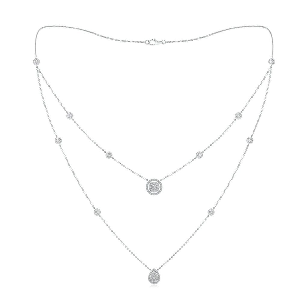 Pear & Round Diamond Cluster Two-Layer Station Necklace Angara