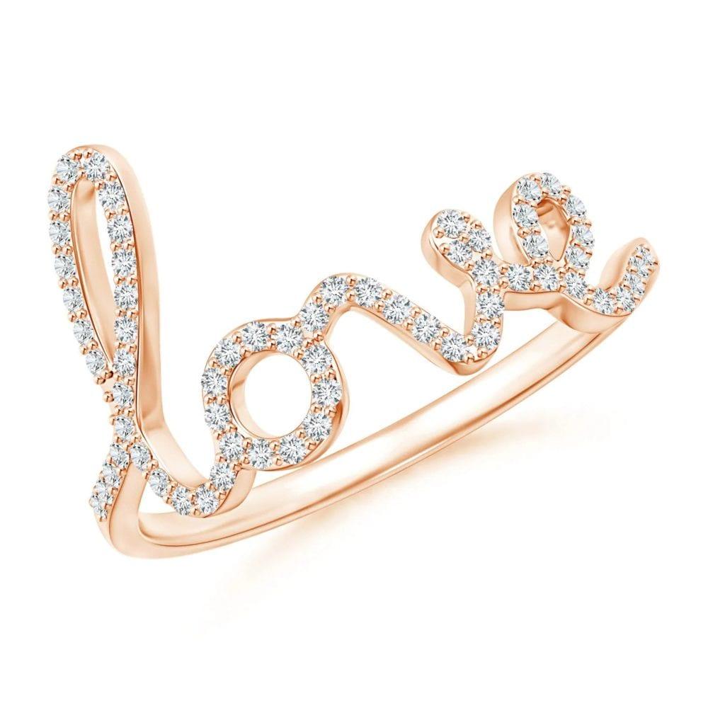 Prong Set Round Diamond Cursive LOVE Ring Angara
