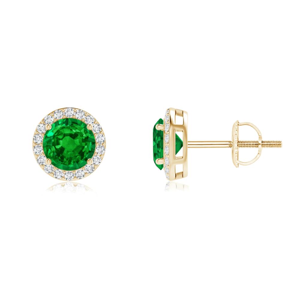 Vintage-Inspired Round Emerald Halo Stud Earrings  Angara