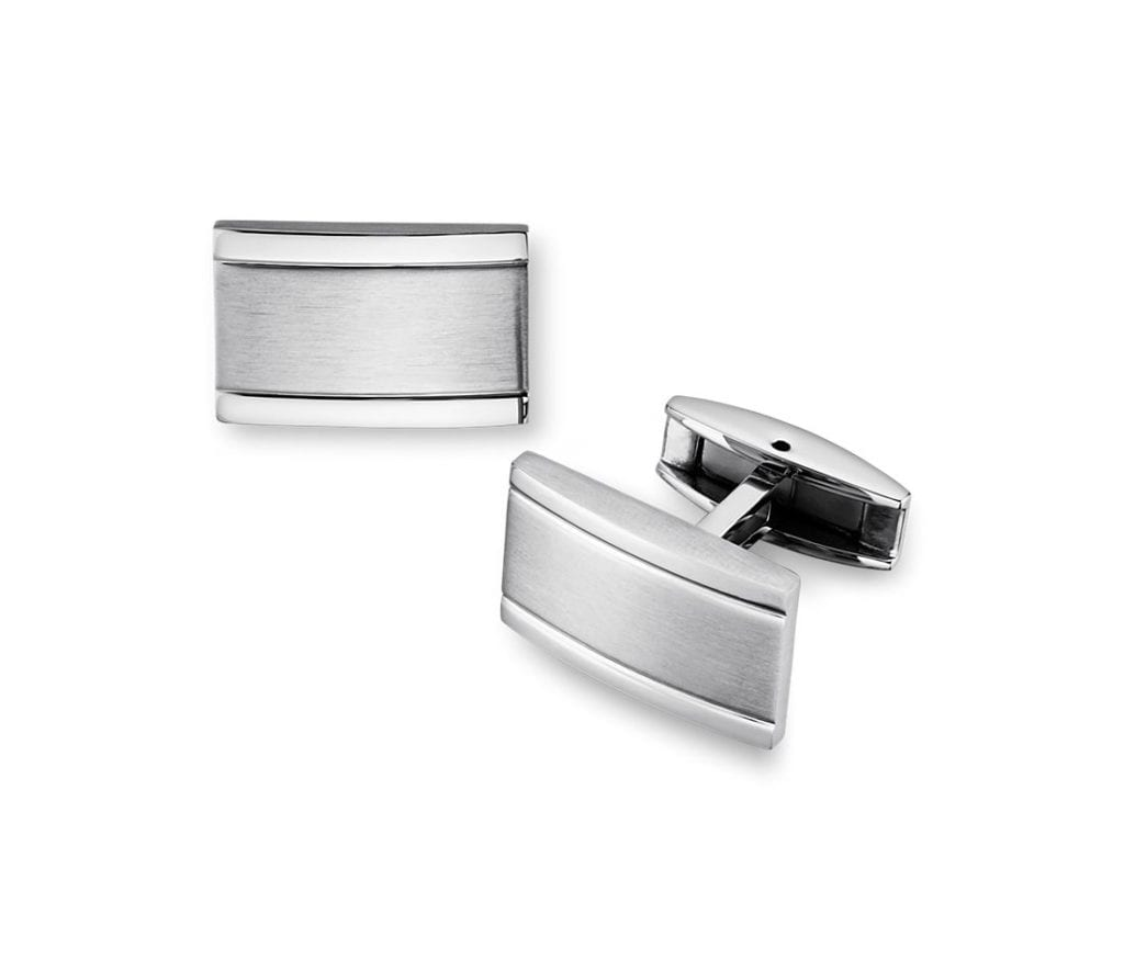 Brushed and Polished Cuff Links in Stainless Steel Blue Nile