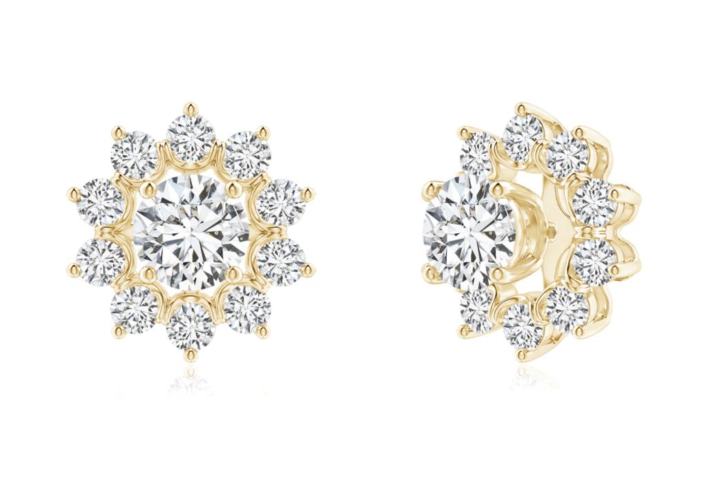 Diamond Floral Halo Earring Jackets Angara