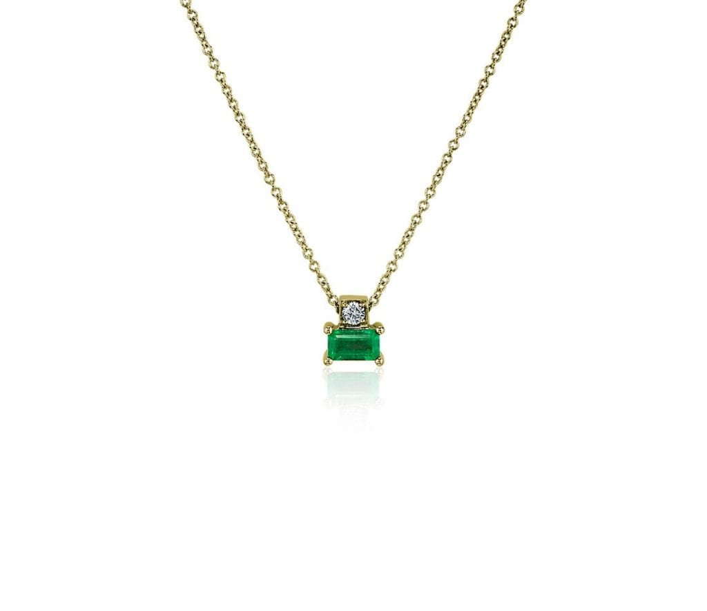 Emerald and Diamond Solitaire Pendant in 14k Yellow Gold Blue Nile