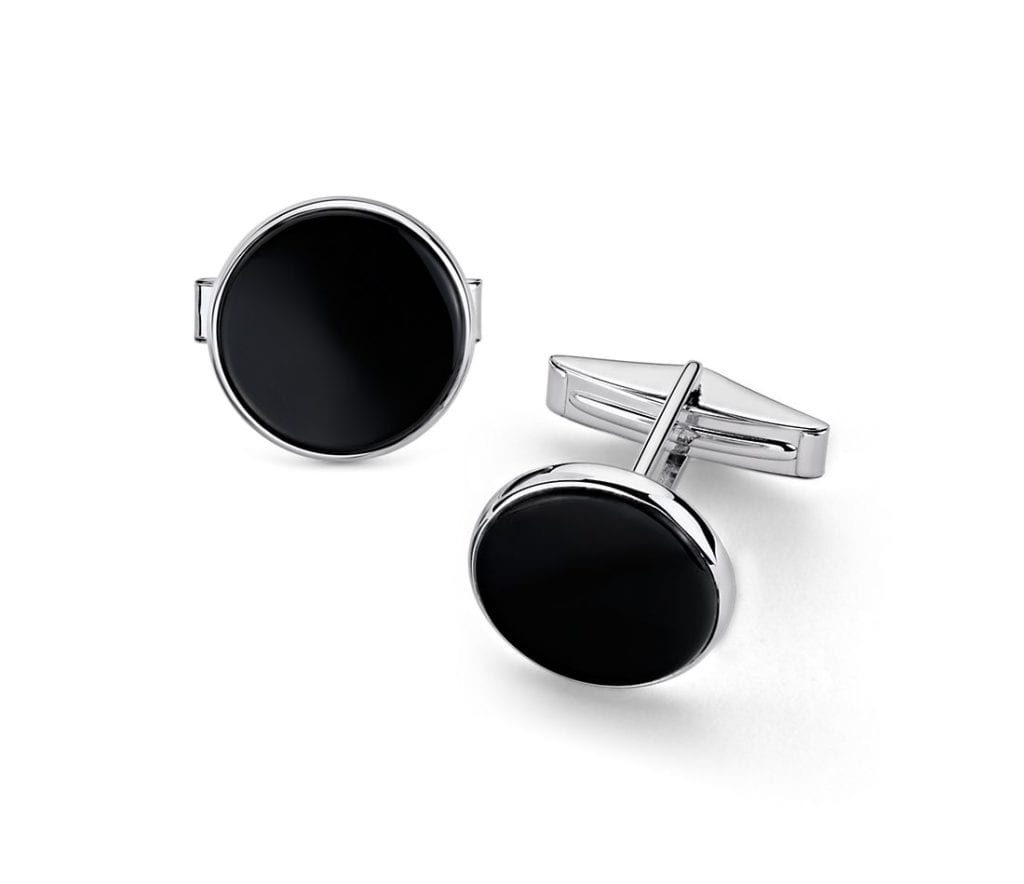 Large Round Onyx Cuff Link and Stud Set in Sterling Silver Blue Nile