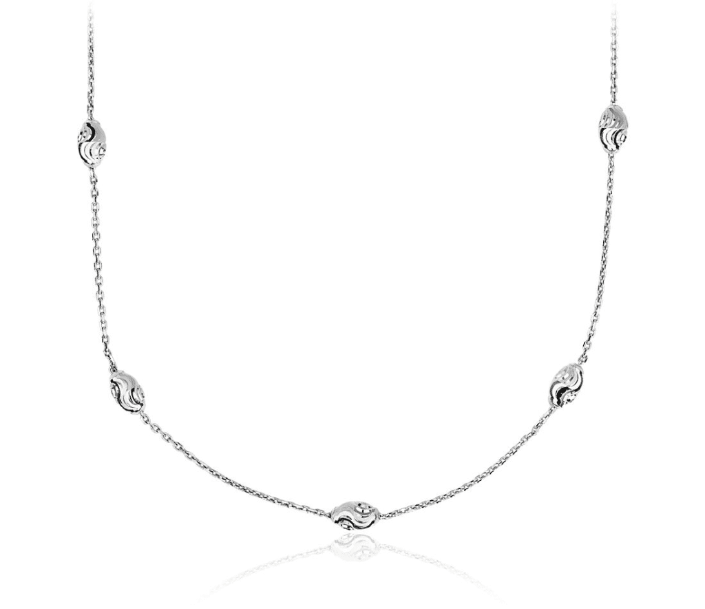 """Long Moon Cut Shimmer Necklace in Italian Sterling Silver (36"""") Blue Nile"""