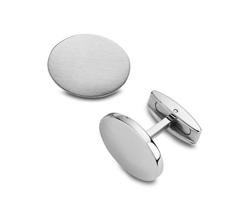 Oval Cuff Links in Brushed Stainless Steel Blue Nile