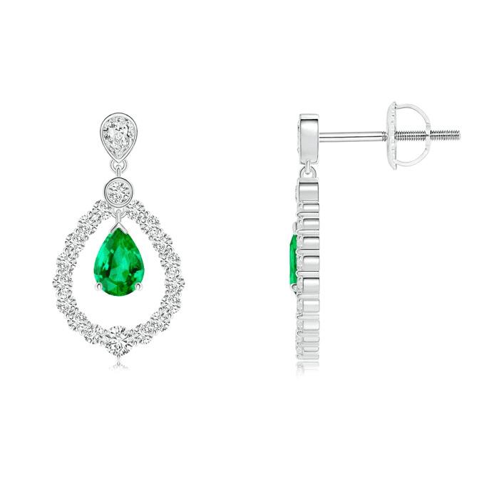 Pear Emerald Teardrop Earrings with Diamond Frame Angara