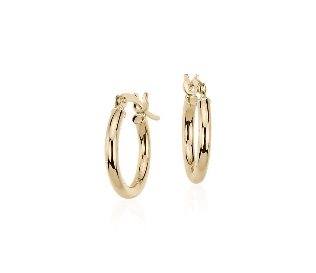 """Petite Hoop Earrings in 14k Yellow Gold (5/8"""") Blue Nile"""