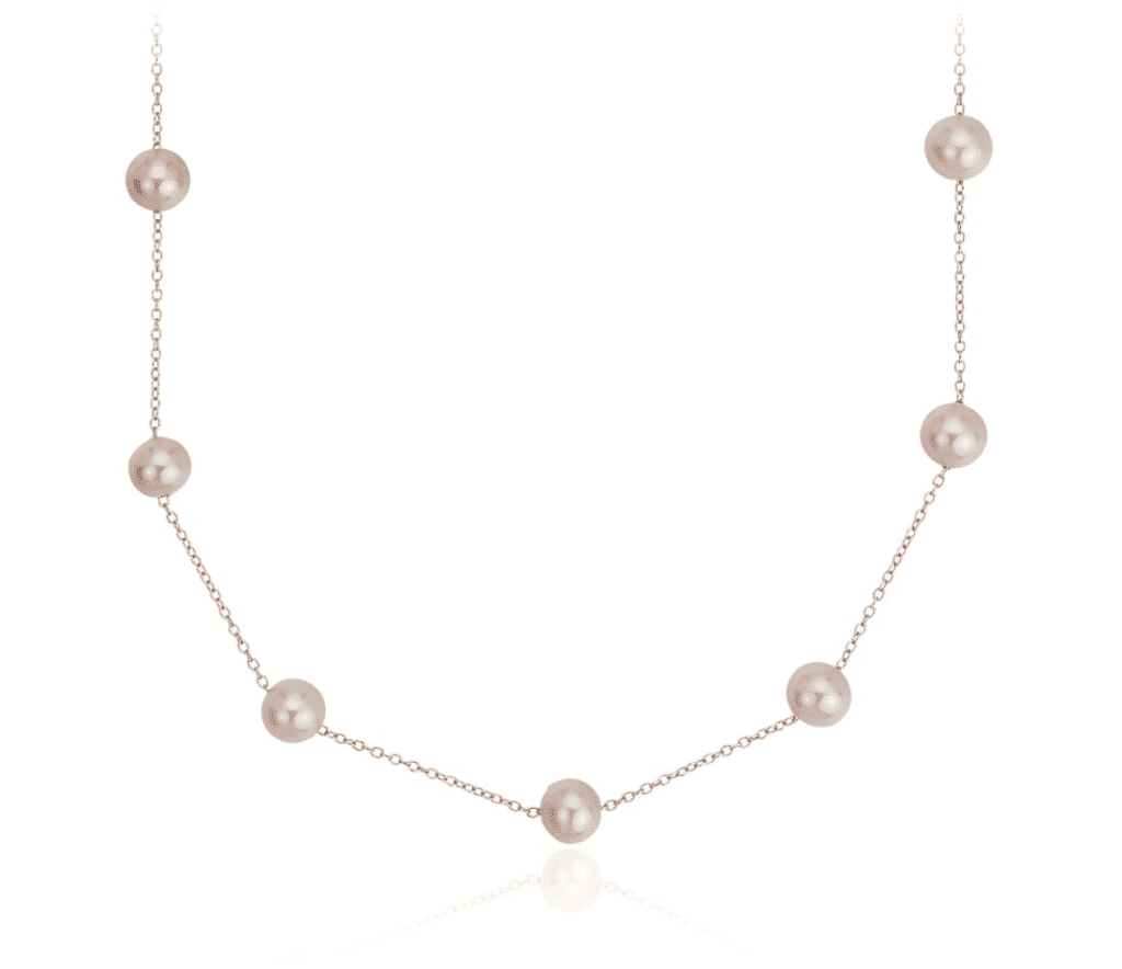 Pink Freshwater Cultured Pearl Tin Cup Stationed Necklace Blue Nile