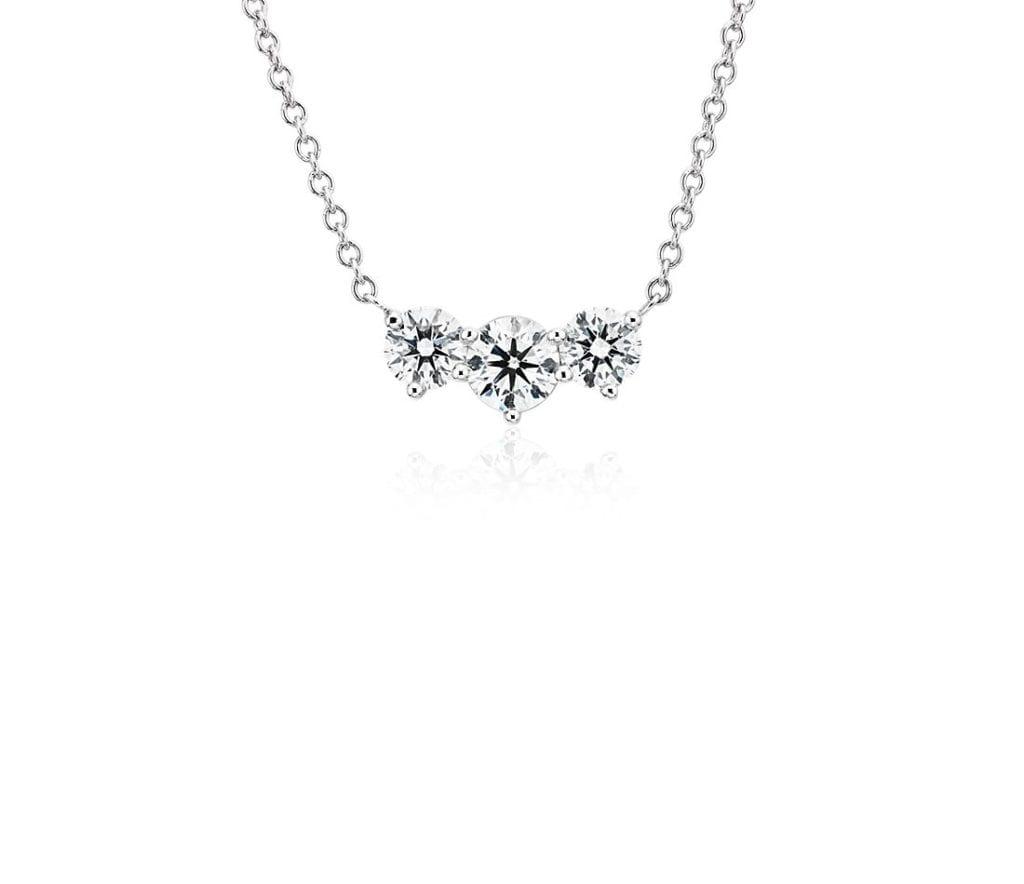 Premier Three-Stone Diamond Necklace in Platinum (1 1/2 ct. tw.) Blue Nile