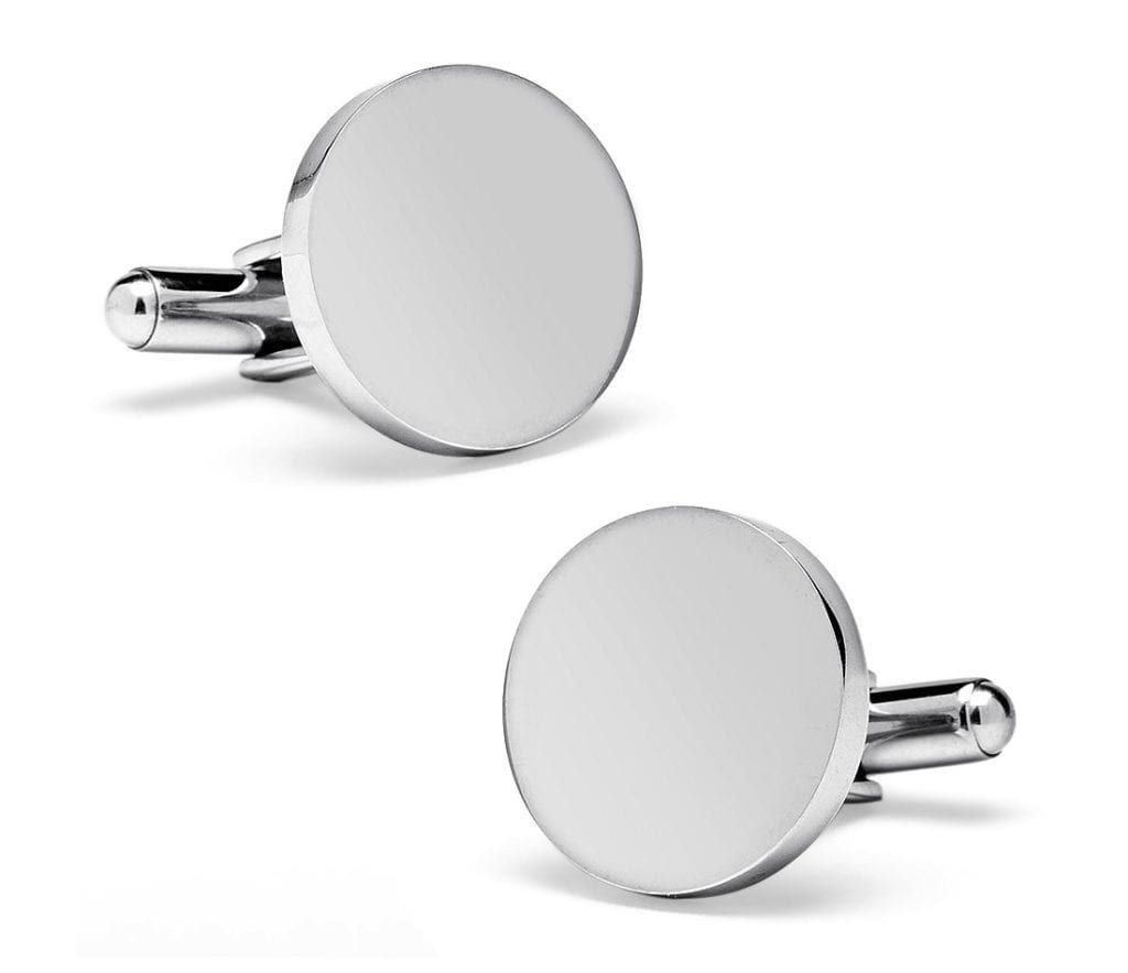 Round Cuff Links in Stainless Steel Blue Nile
