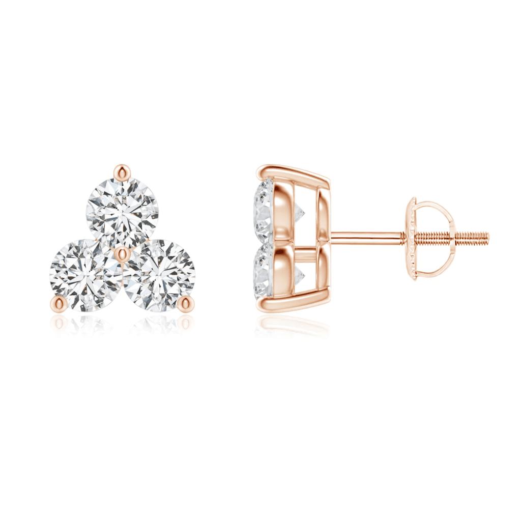 Round Diamond Three Stone Stud Earrings Angara