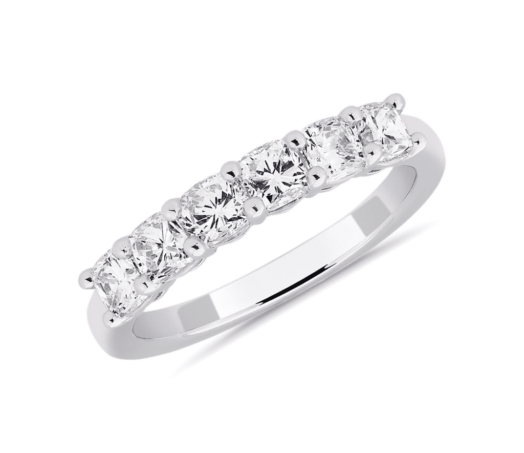Six Stone Cushion Diamond Ring in Platinum (1 1/4 ct. tw.) Blue Nile