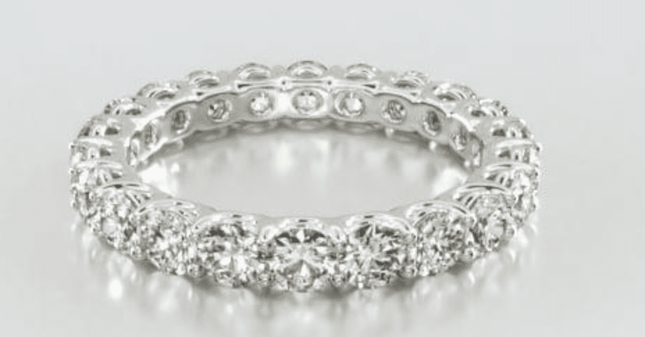 14K White Gold low dome Basket Lab-Created Diamond Eternity Ring James Allen