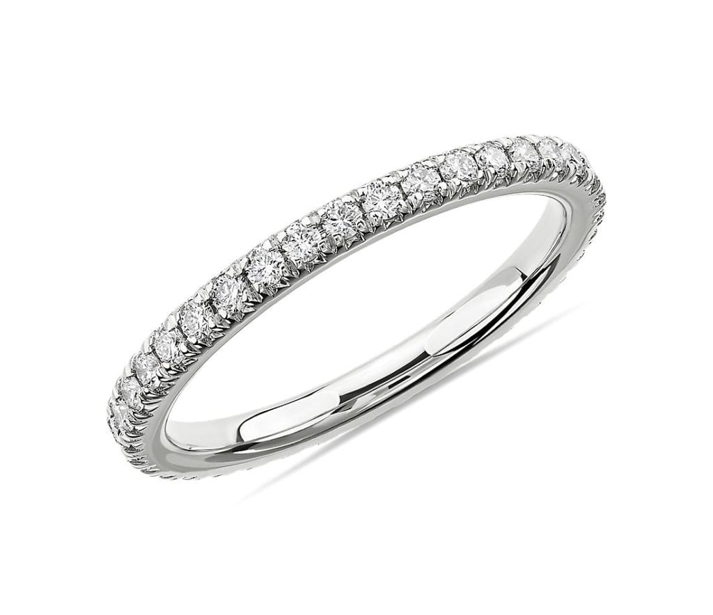 French Pavé Diamond Eternity Ring in Platinum (1/2 ct. tw.) Blue NIle