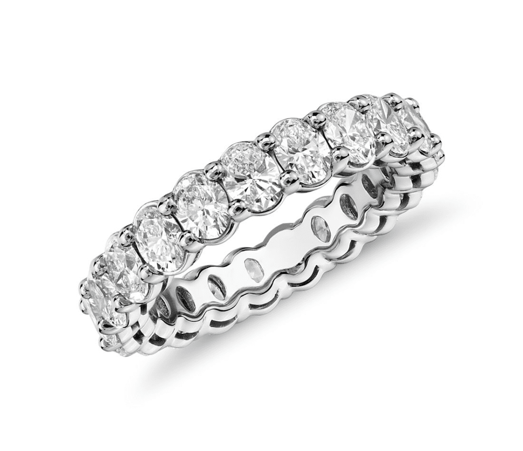 Oval Cut Diamond Eternity Ring in Platinum (3.0 ct. tw.) Blue Nile
