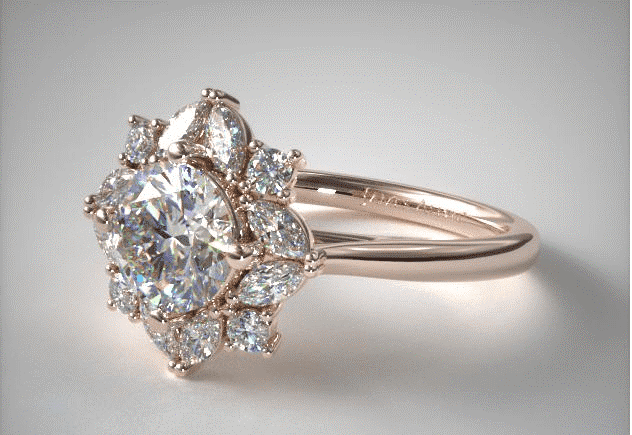 14K Rose Gold Marquise Cluster Halo Diamond Engagement Ring James Allen