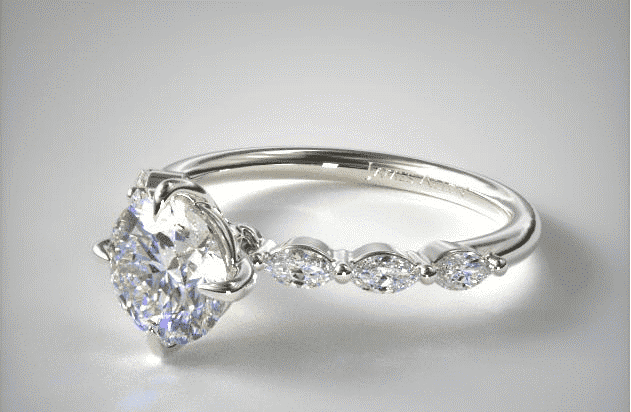 18K White Gold Shared Prong Marquise Side Stone Diamond Engagement Ring James Allen