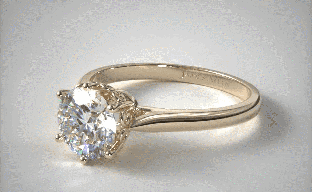 """18K Yellow Gold """"Danhov"""" Spring Blossom Six Prong Solitaire Engagement Ring by Danhov James Allen"""