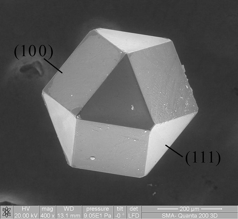 lab-grown diamond production - cuboctahedron crystal