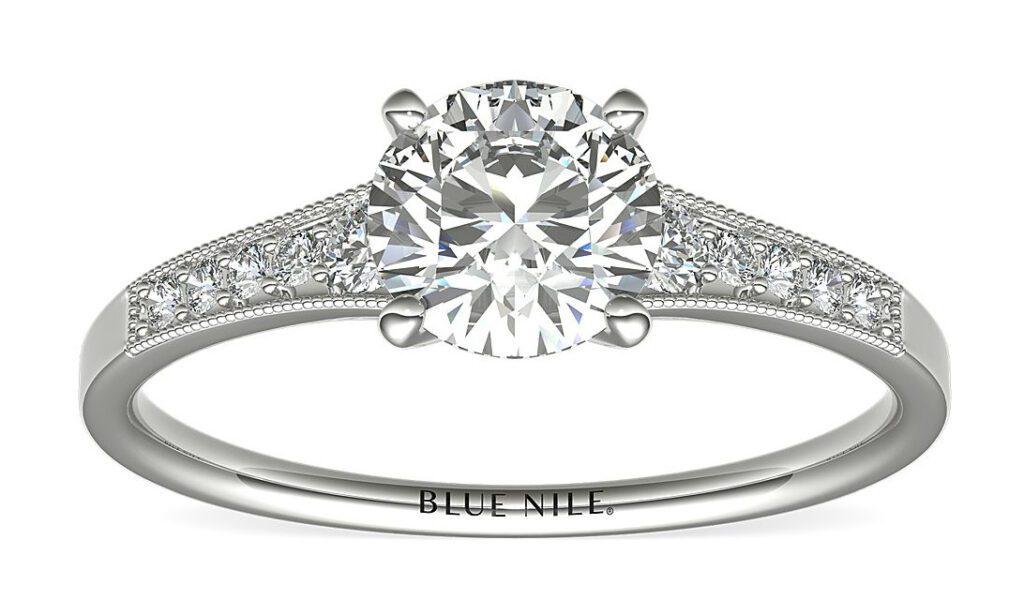 Graduated Milgrain Diamond Engagement Ring Blue Nile
