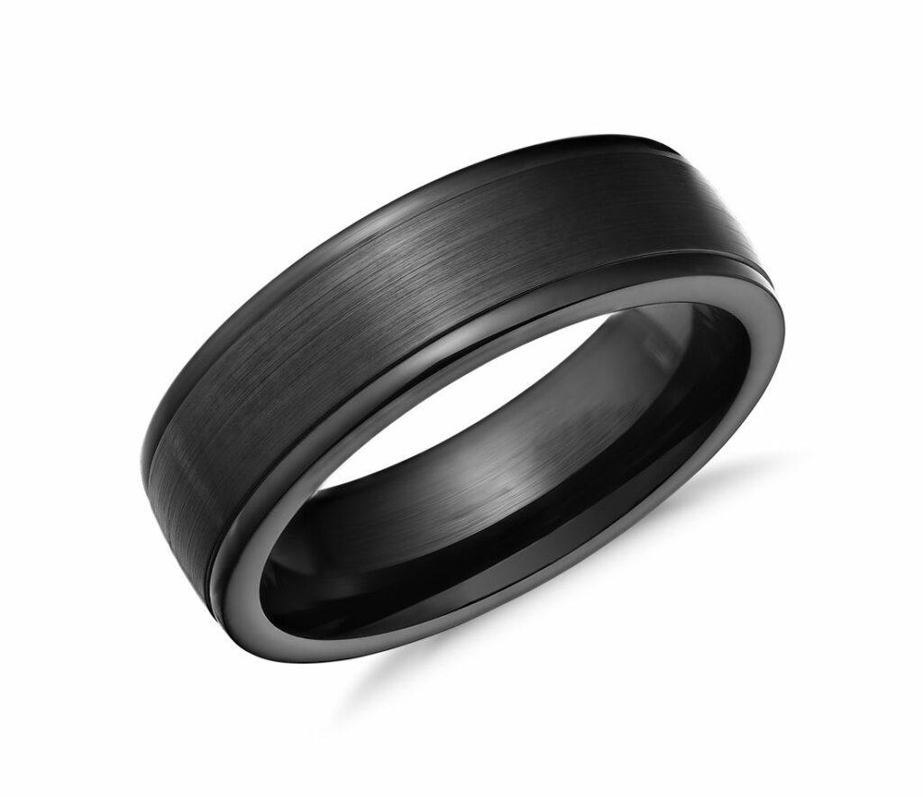 Satin Finish Wedding Ring in Blackened Cobalt Blue Nile