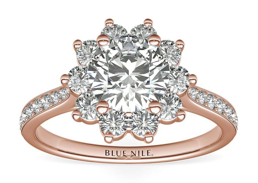 Starburst Floral Halo Diamond Engagement Ring Blue Nile