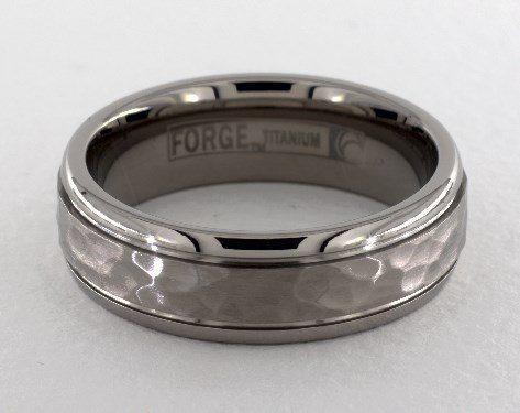 Titanium 7mm Comfort-Fit Hammered-Finished Design Ring James Allen