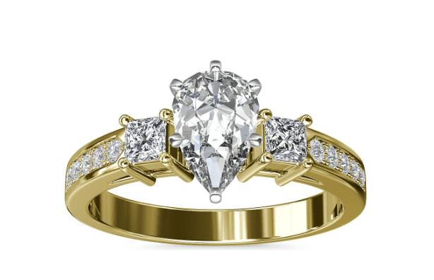 Trio Princess Cut Pave Diamond Engagement Ring Blue Nile